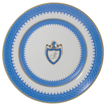 "The Thomas jefferson china dinner plate in popular blue and white with gold monogram ""J""."