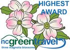 The highest award from the state of NC for Green Travel - a three dogwood blossom award.