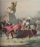 The 1776 ripping down of a King George III statue in New York CIty. Tens of thousands cheer on.