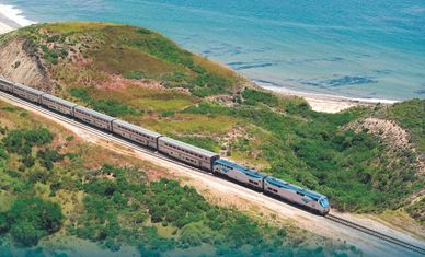 Amtrak pacific surfliner california zephyr  train rail scenic coast ocean san diego los angeles