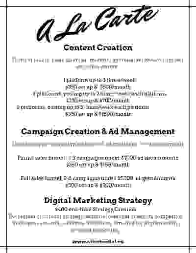 A la carte marketing plans