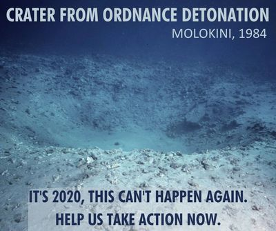 Irreparable damage to Molokini from US Navy detonation in 1984. This cannot happen again.