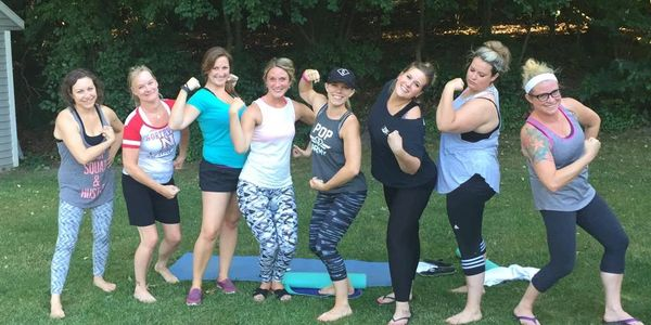 Backyard POP Pilates class