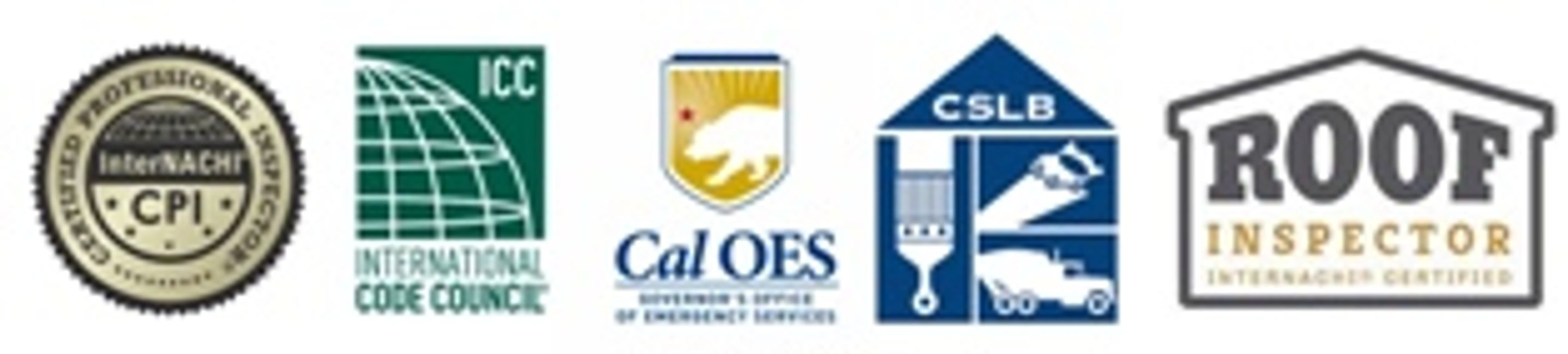 Certified NACHI home inspector, Certified ICC building inspector, Cal OES inspector