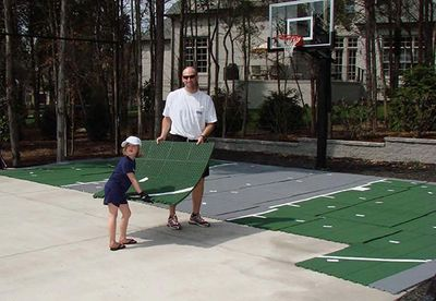 VersaCourt modular snap Sport Courts are typically installed in 48 to 72 hours.
