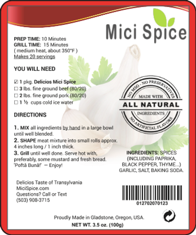 Back Label Mici Spice ® 100 g