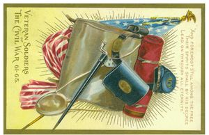 Grand Army of the Republic knapsack postcard