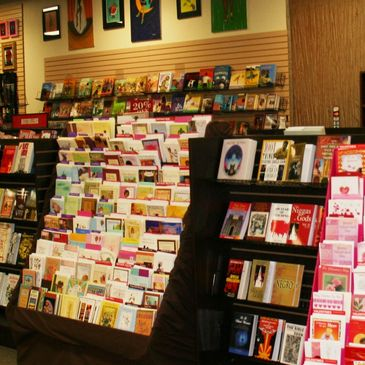 black bookstore or african american bookstore with books, holiday cards, calendars, gifts,