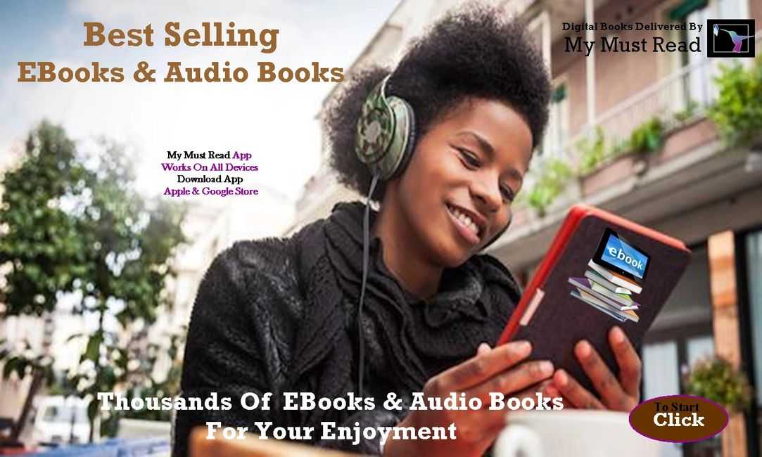African America girl listening to a ebook or audio book.