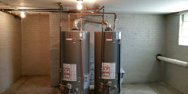 Hot Water Heater Installation in a basement for a residential property