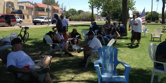 Residents have fun at The Mesa House transitional sober living houses for men in Mesa Arizona.