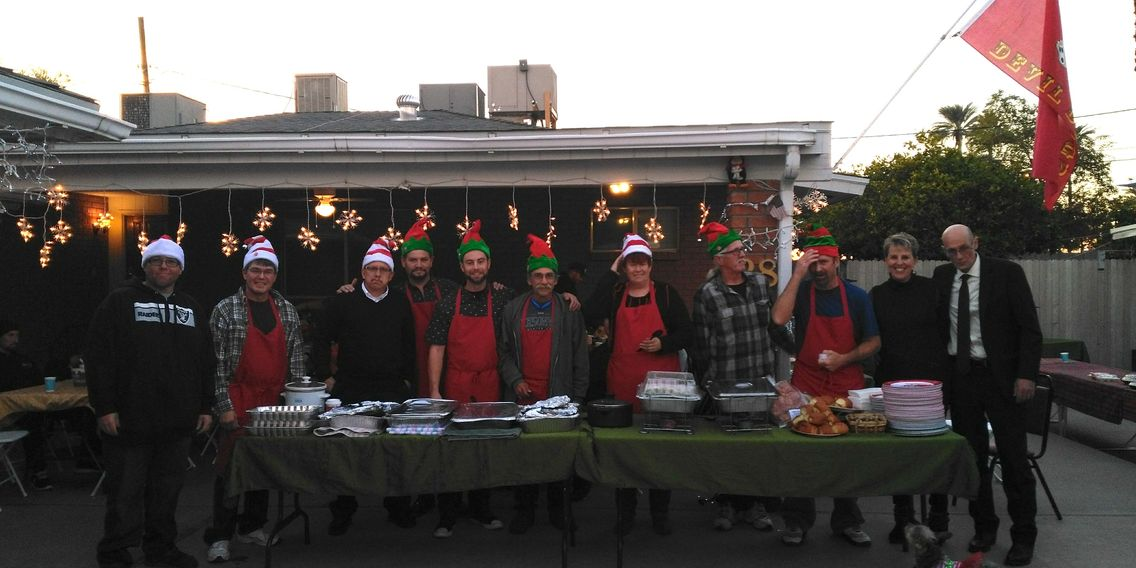 Christmas Eve Dinners where staff of The Mesa House serves the Residents and their Guests.