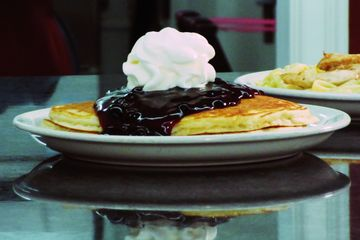 Pancakes with Blueberry Sauce, Waffles with fruit, Breakfast, Amish Breakfast, Amish Cooking