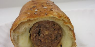 ITALIAN SAUSAGE HOT OR MILD, CHEESE IN A PRETZEL WRAP, ITALIAN PRETZEL WRAP, AMISH PRETZEL WRAP
