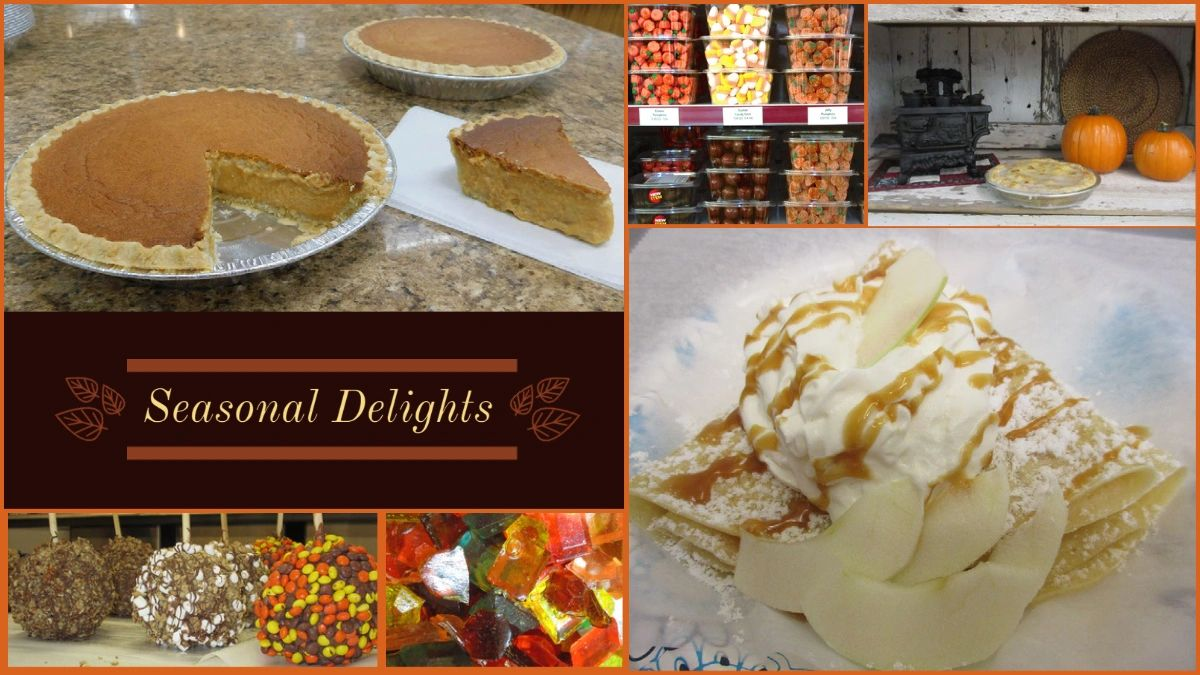 Amish, Pumpkin pie, apple pie, fall candy, candy corn