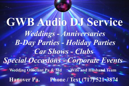 DJ Service Wedding Officiant Hanover Pa 17331