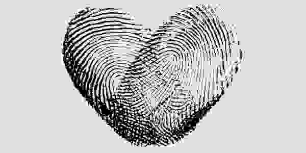 Fingerprint Heart Black IX