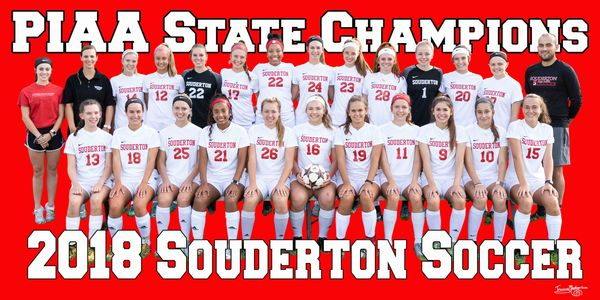 Custom Banners. 2018 Souderton Area High School Girls Soccer State Champions.