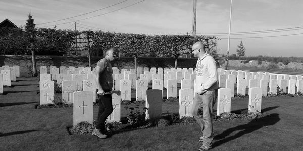 Meeting Maori historian in a World War One cemetery in Flanders Fields.