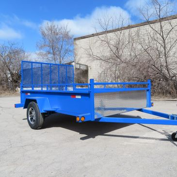 Single axle utility trailer, custom blue colour, checker plate stone guard