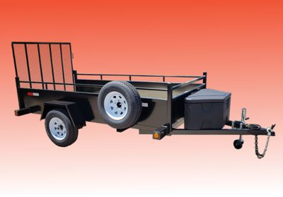 Single axle utility trailer with spare tire and tool box