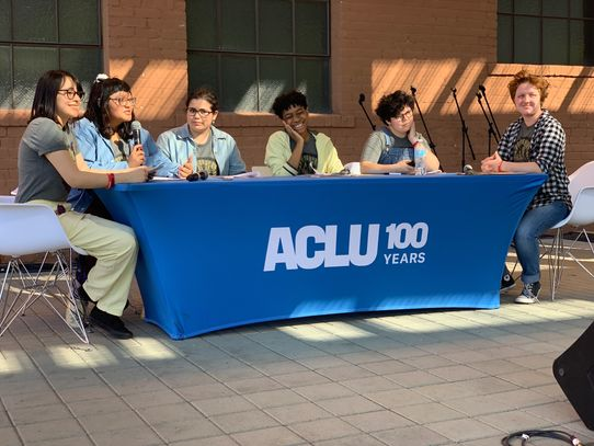 Youth from Rising Youth Theatre facilitate a theatre and dialogue performance at  ACLU 100.