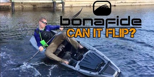 Attempting to flip the Bonafide ss127 angler/fishing kayak.  This is a stability test. Kayak review.