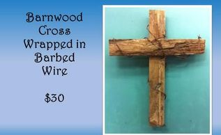 Barnwood Cross, Barbed Wire Art, home decor, christian gift, religious gift, rustic