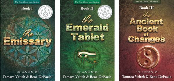 Book covers The Emissary,The Emerald Tablet,  and The Ancient Book of Changes