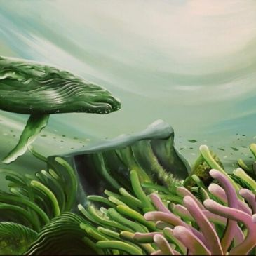 "Now showing at Going Local NC, local artist William ""Bill"" Love.  Coastal art, rays, surfers"