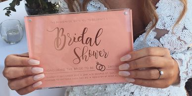 Fully foiled letter pressed bridal shower invitations. Bridal shower styling.