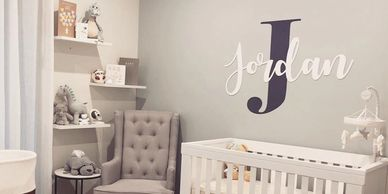 1.2m baby room wall art with acrylic and decal design.