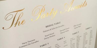 Seating chart with gold decal design.