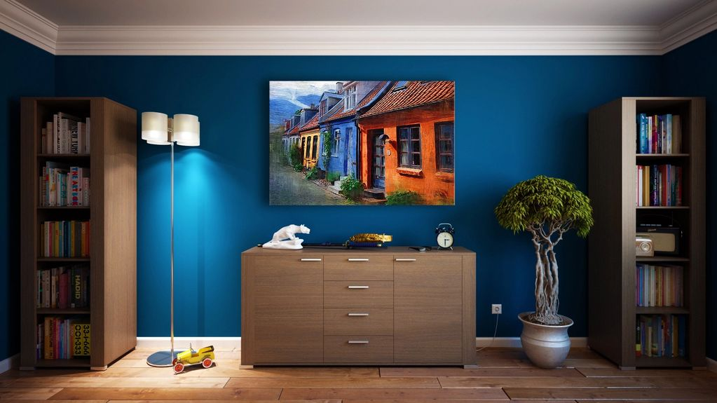 Beautifully decorated room with attractive blue interior paint.