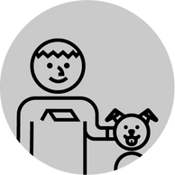 A man and dog icon for free estimates