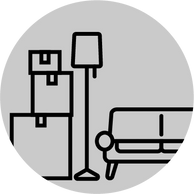 Moving services icon including boxes, a couch, and a lamp