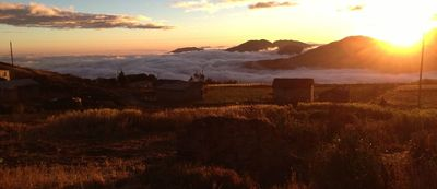 Pachamama Chico at sunset. The valley is filled with clouds and we are above 11,500 ft in Andes Mts.