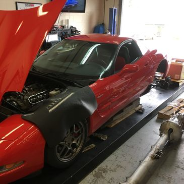 A customer's C5 Corvette receiving engine work, a new transmission and clutch, and dyno testing.