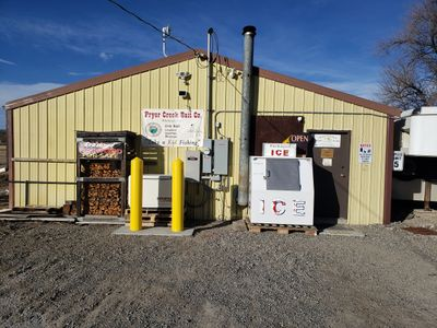 Front of Pryor Creek Bait Company's Retail Store at 905 West Main St. in Laurel, MT 59044.