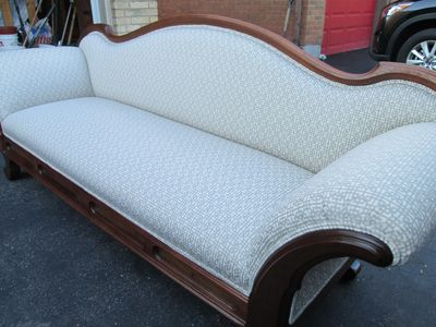 after restoration, antique sofa restoration, upholstery fabric, reupholstery, refinish, restore