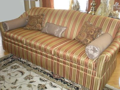 restyled sofa, reupholstery, sofa after restoration, upholstery service, uphosterer ottawa, quality