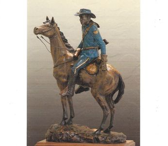 Hal Stewart, Navy veteran and artist. Approved prototype of life size mounted Buffalo Soldier.
