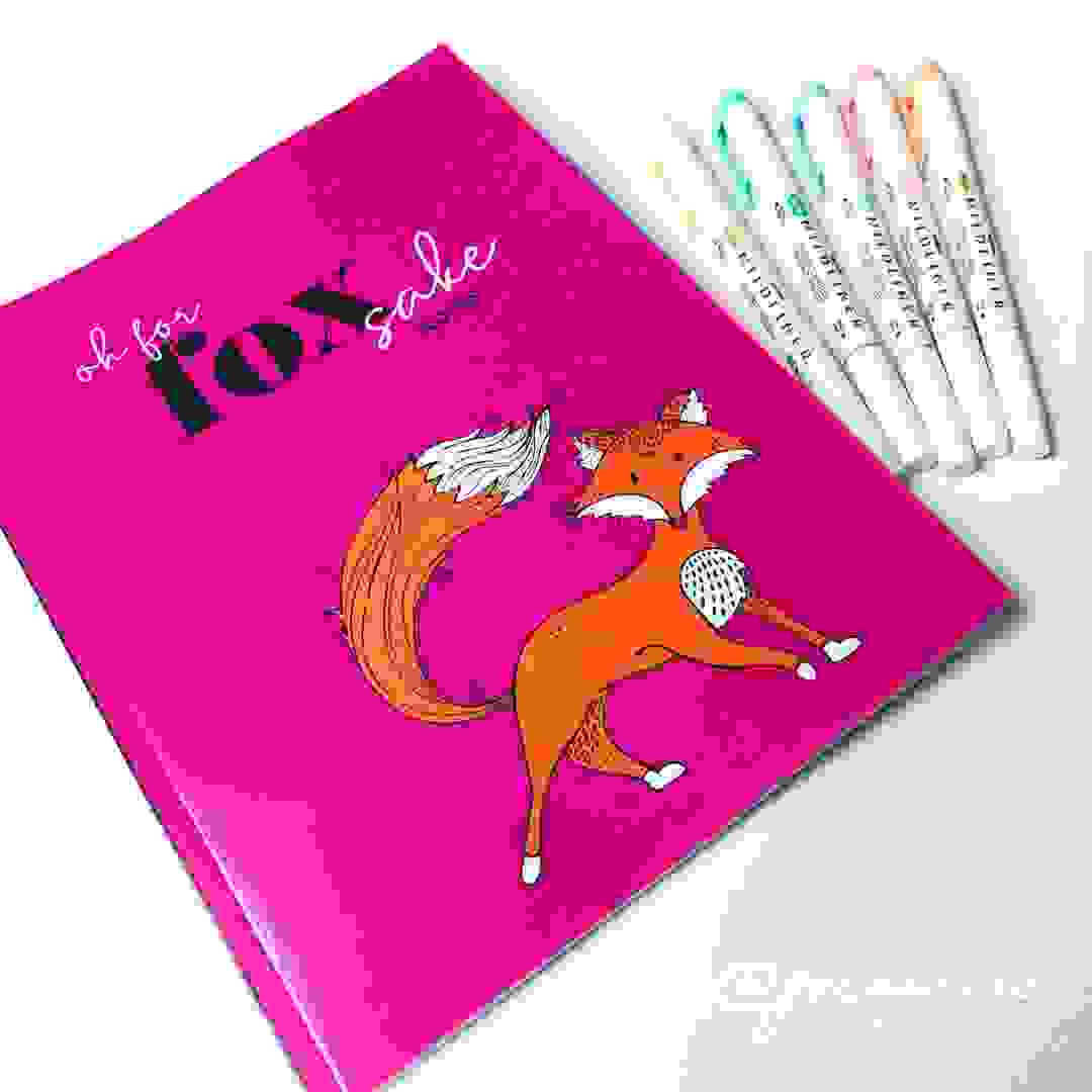 pink notebook cover with fox design