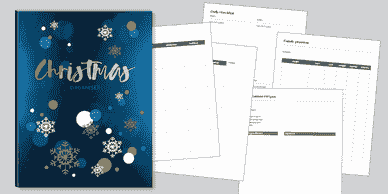 Christmas planner cover dark blue with snowflakes