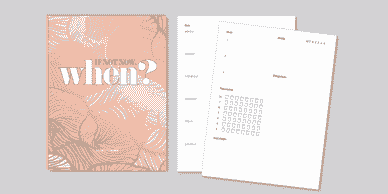 diary planner cover saying if not now, when?