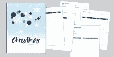 Christmas planner cover with white snowflakes