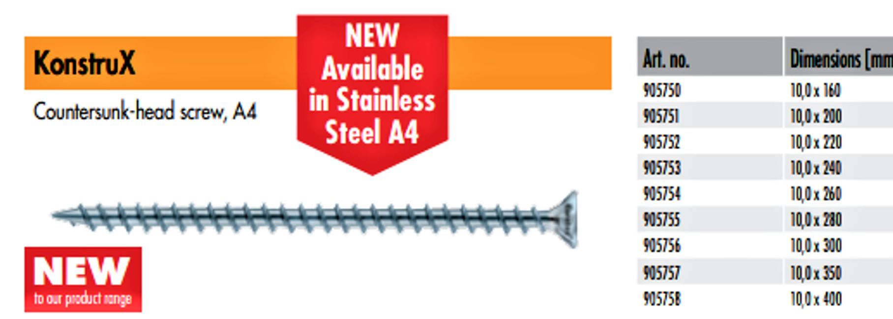 KonstruX Stainless Steel Full Thread Structural Wood Screw