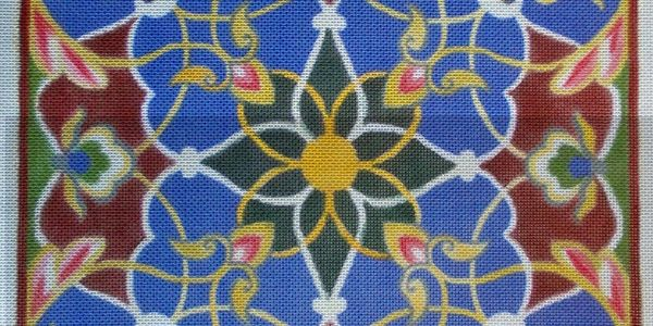 hand painted needlepoint canvas ornamental art blue green maroon