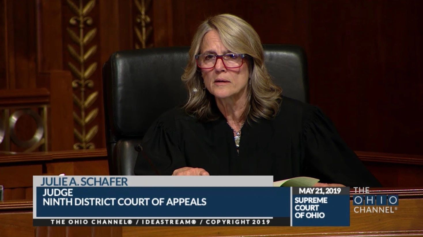 Judge Julie Schafer sits as visiting Judge on the Ohio Supreme Court on May 21, 2019.
