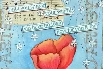 mixed media collage, ink, watercolors, stamping, text, and quotes all combined for great picture.